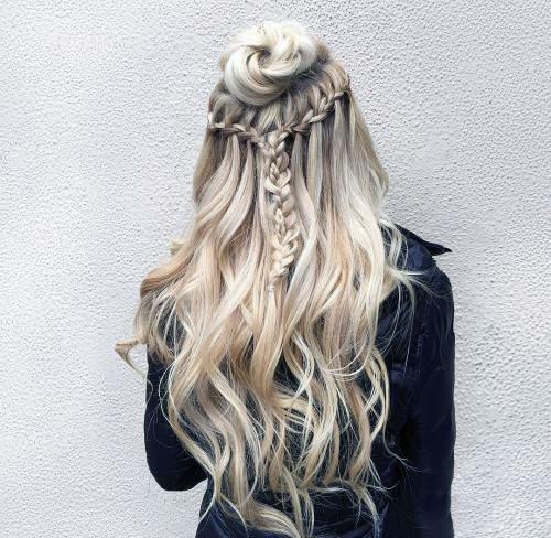 Прически с пучком на длинные волосы_13