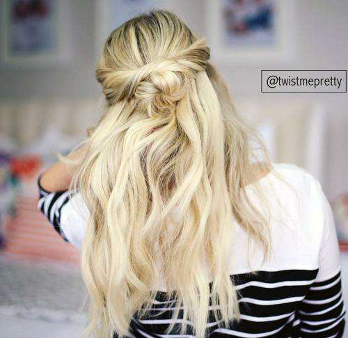 Прически с пучком на длинные волосы_4