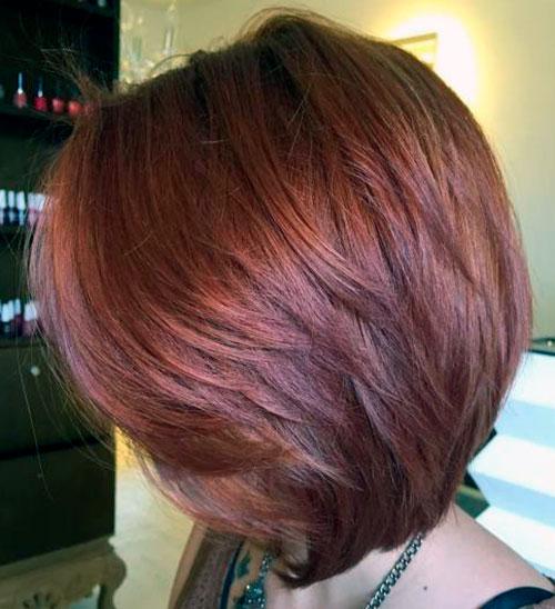 Градуированное каре на каштановые волосы