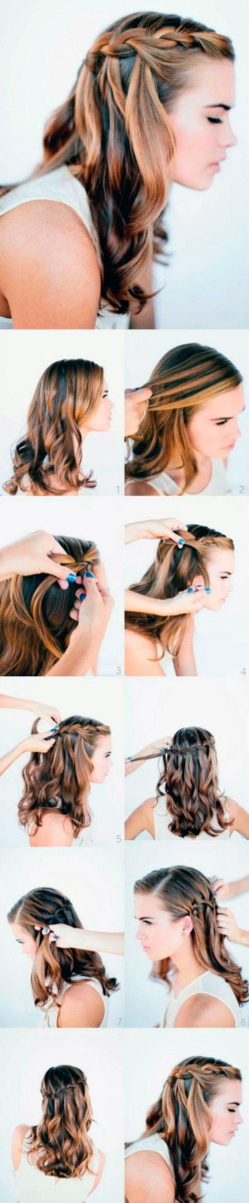 Причёска каскадная коса