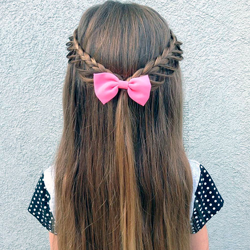 Коса с петлями на длинные волосы