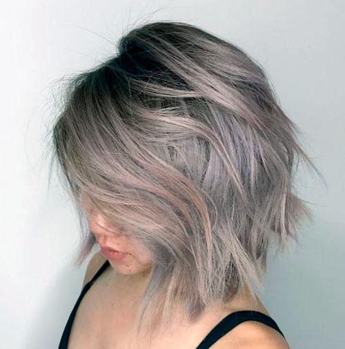 Окрашенный боб на средние волосы