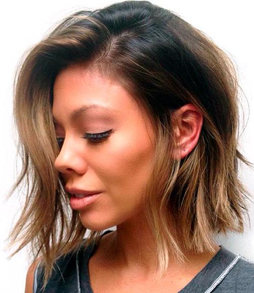 Рваное каре на средние волосы