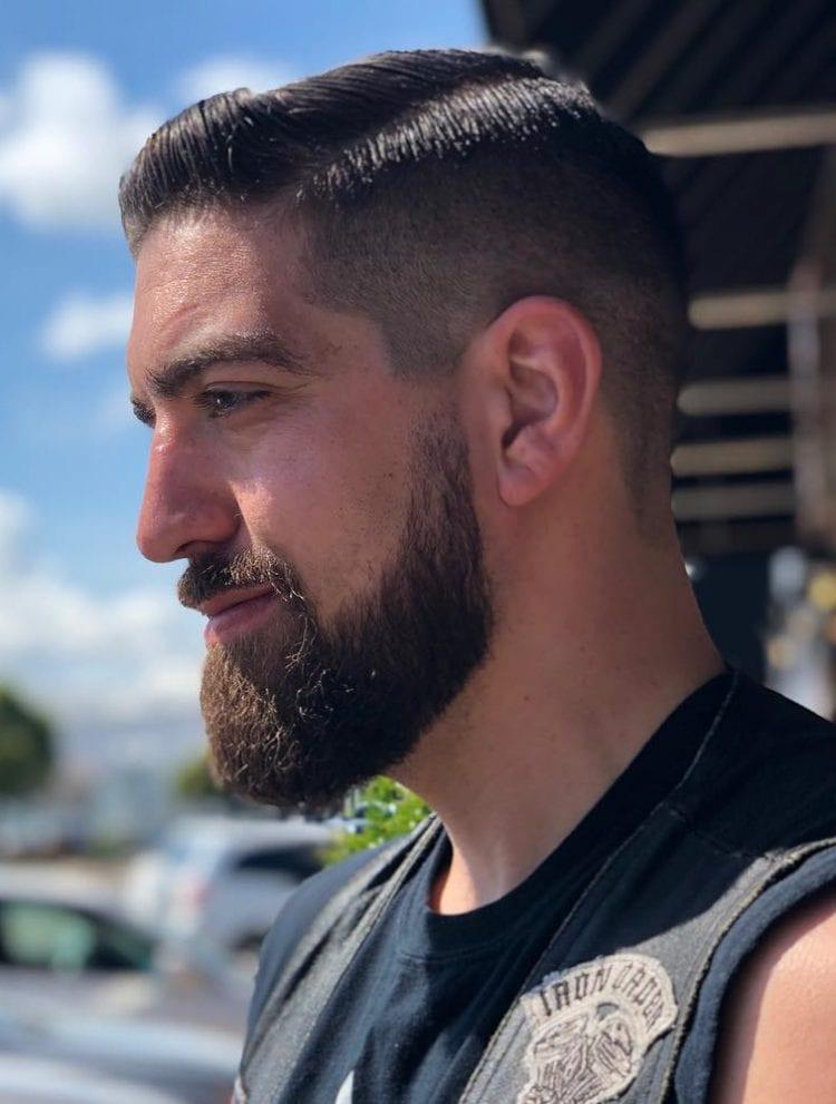мужская стрижка средний фейд с бородой