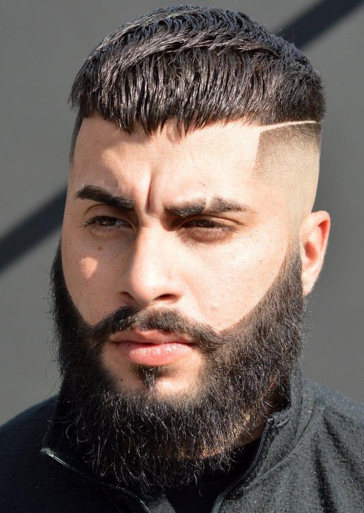 мужская стрижка высокий фейд с бородой