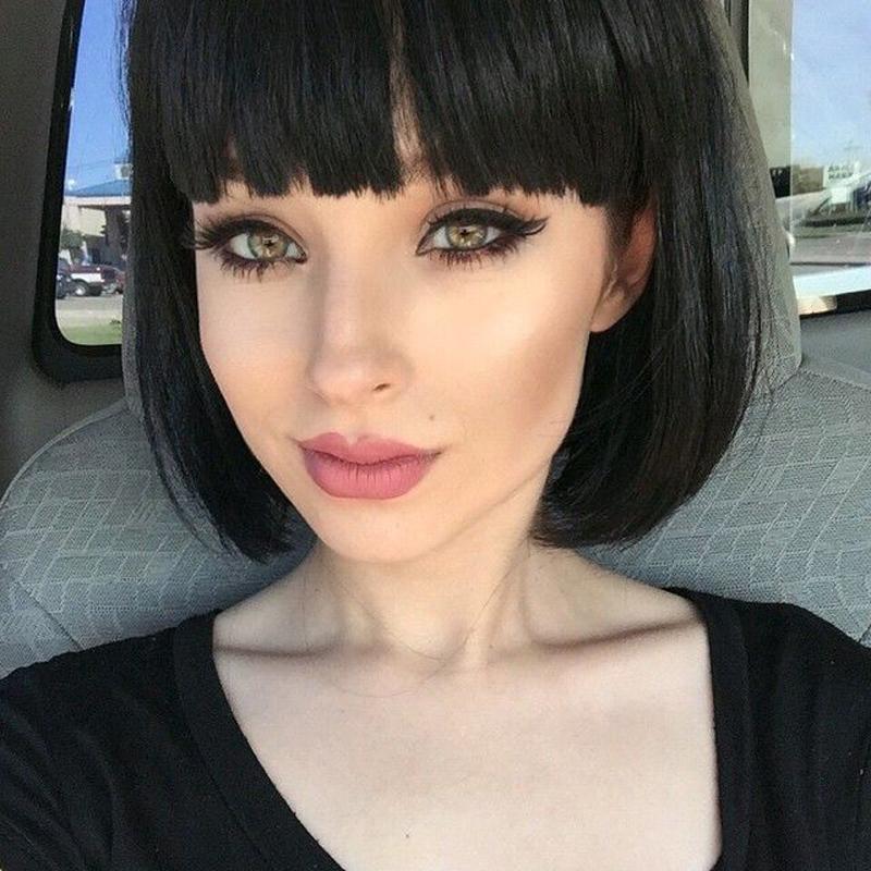фото каре черные волосы