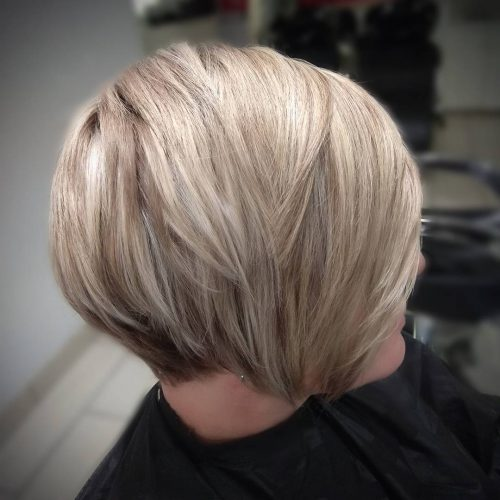 Многослойный боб блонди балаяж